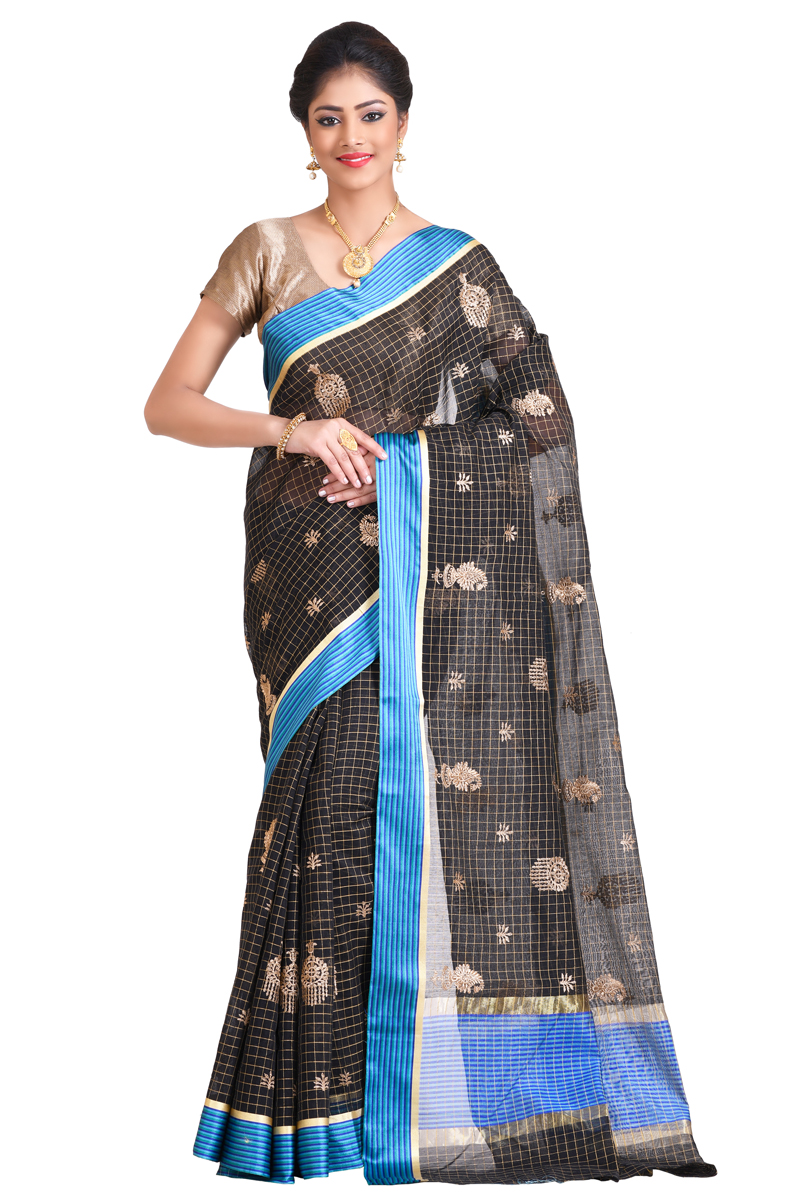 Black Color Golden Zari Work With Blue Satin Border Chanderi Checks Saree