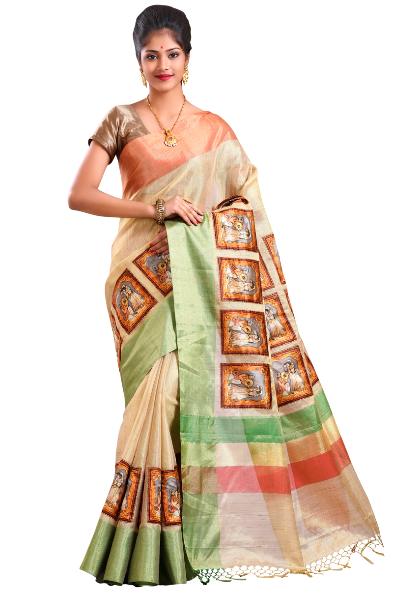 Beige Color Aplic Work Chanderi Saree