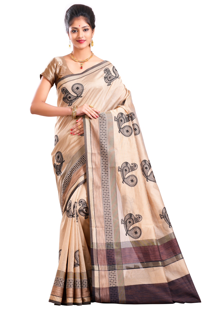 Black-Beige Checks Resham Embroidered Chanderi Saree With Resham Patta