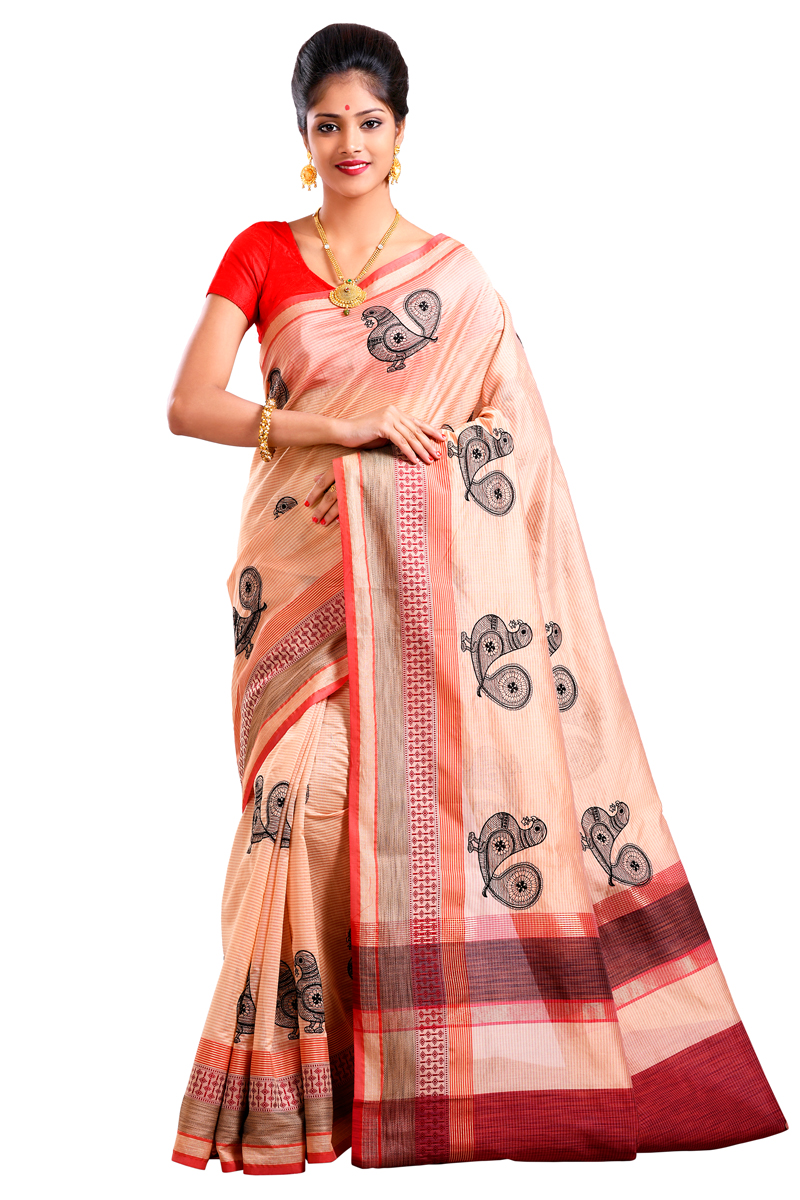 Maroon-Beige Checks Resham Embroidered Chanderi Saree With Resham Patta