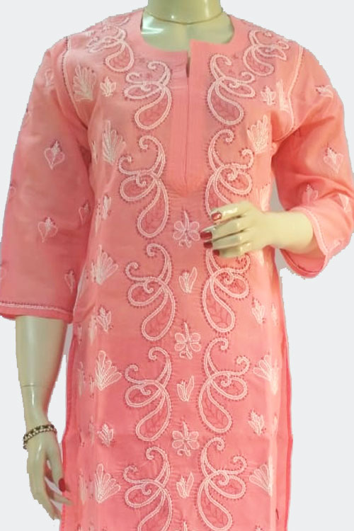 Peach Hand Embroidered Lucknowi Chikankari Long Kurti (Georgette) Bust-40 inch 71114