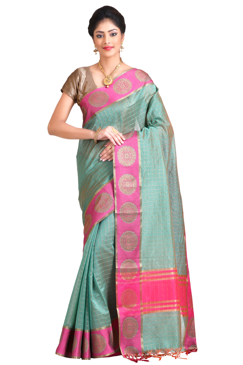 Pista Green Color Zari Checks Chanderi Saree With Resham Zari Buta Border