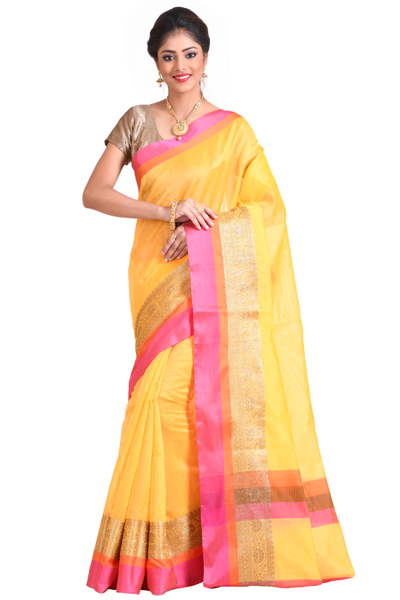 Pastel Yellow  Zari And Resham Patta Border On Plain Checks Chanderi Saree