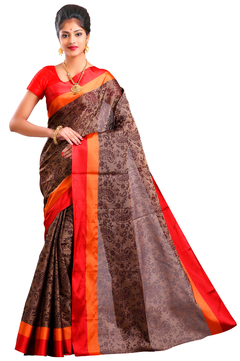 Chocolate Color Weaving Work Chanderi Saree With Resham Patta