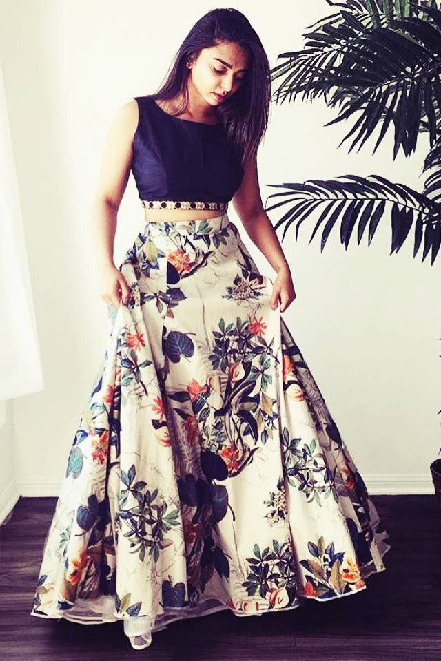 Exclusive Printed Designer Lehenga #L10  Cream and Black