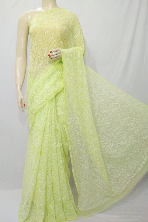Light Green Color Hand Embroidered Lucknowi Chikankari Saree (With Blouse - Georgette) Allover Tepchi Work 71115