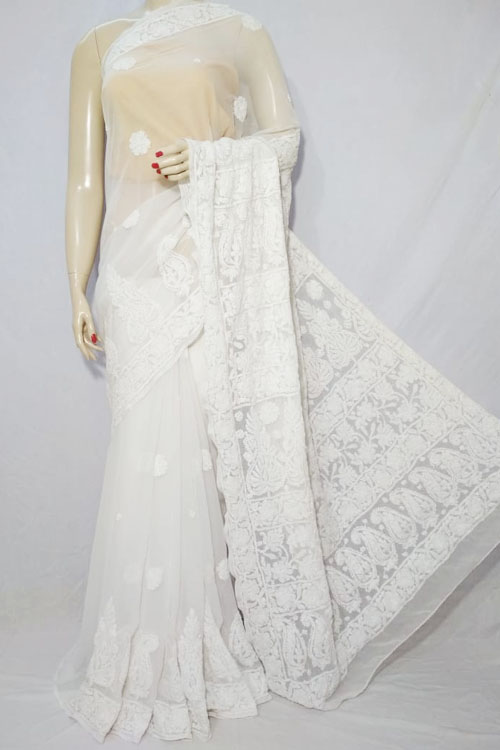 White Color Hand Embroidered Lucknowi Chikankari Saree (With Blouse - Georgette)  71116