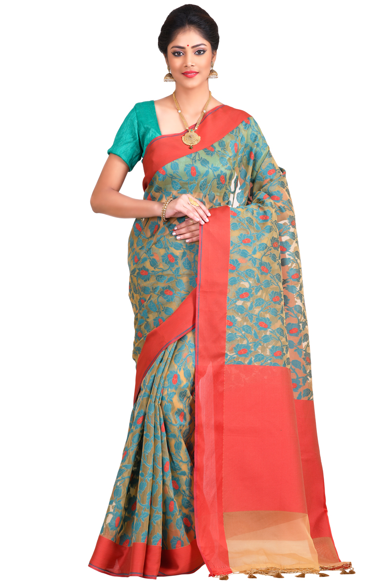 Beige-Sky Blue Weaving Work Resham Patta Cora Saree