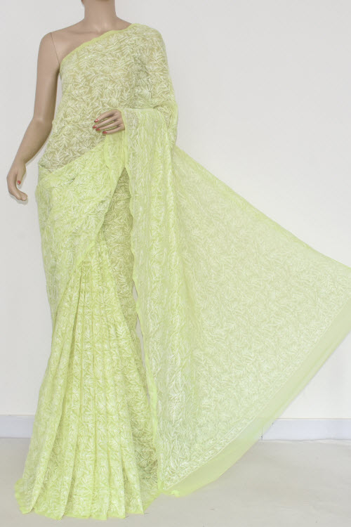 Dhaani Allover Tepchi Work Lucknowi Chikankari Saree (With Blouse - Georgette) 14836
