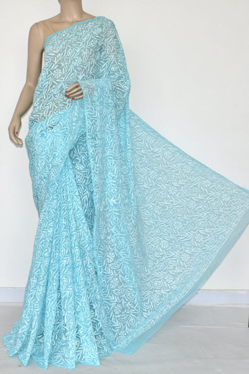 Pherozi Hand Embroidered Allover Tepchi Work Lucknowi Chikankari Saree (Georgette) 14897