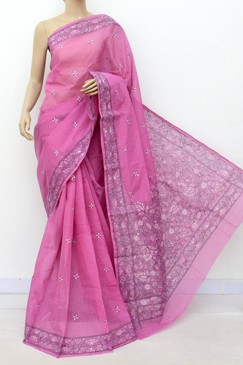 Onion Hand Embroidered Kantha Work Bengal Tant Cotton Saree (Without Blouse) 17636