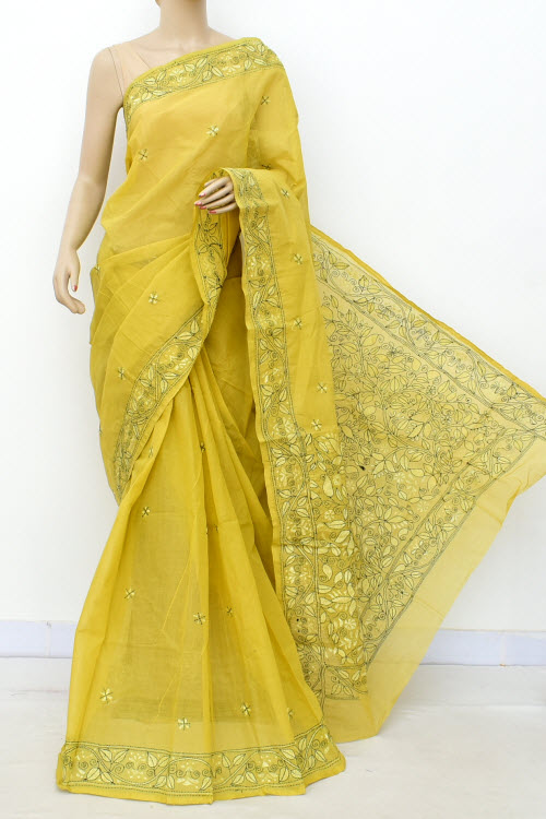 Yellow Hand Embroidered Kantha Work Bengal Tant Cotton Saree (Without Blouse) 17637