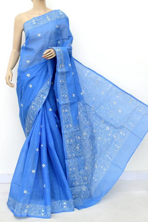 Traditional Kota Cotton Embroidery Skyblue Indian Saree Sari W//Blouse Fast Ship