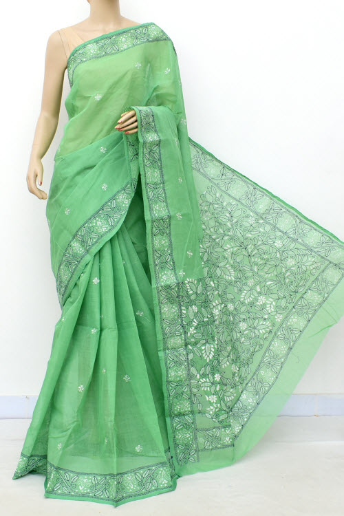 Green Hand Embroidered Kantha Work Bengal Tant Cotton Saree (Without Blouse) 17755