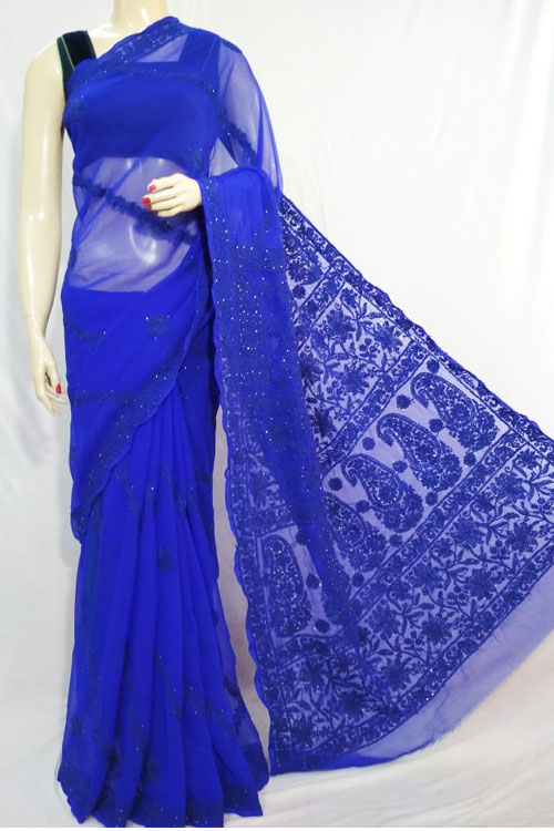 Navy blue Color Hand Embroidered Lucknowi Chikankari Saree (With Blouse - Georgette) havey palla with mukaish work 71126