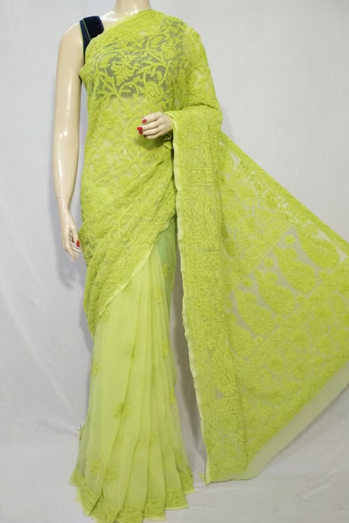 Green Color Hand Embroidered half jaal Lucknowi Chikankari Saree (With Blouse - Georgette) Designer work 71127