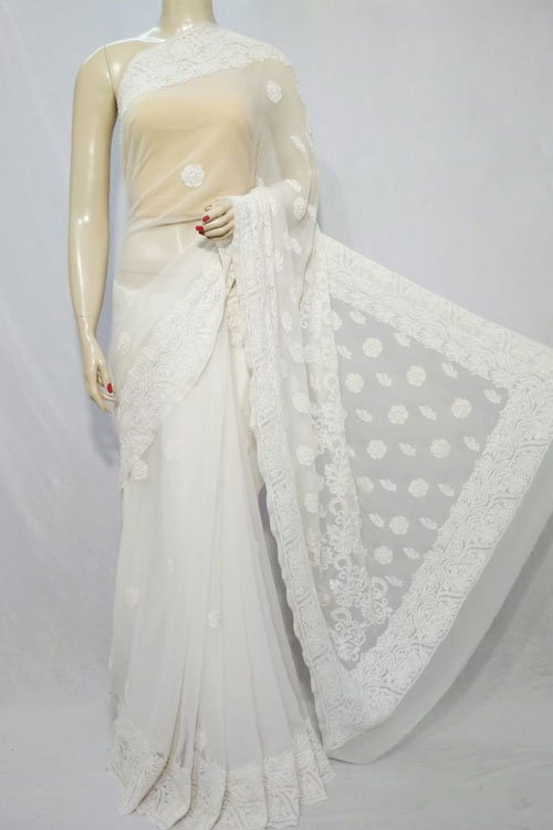 White Color Hand Embroidered Lucknowi Chikankari Saree (With Blouse - Georgette)  71128