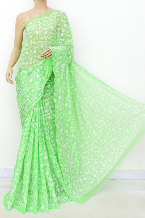 Green Hand Embroidered Allover Tepchi Work Lucknowi Chikankari Saree (With Blouse - Faux Georgette) 14935