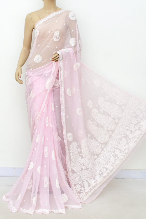 Baby Pink Hand Embroidered Lucknowi Chikankari Saree (With Blouse - Faux Georgette) Allover Booti 14938