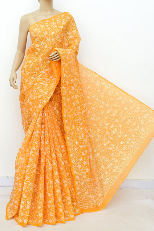 Mustard Yellow Hand Embroidered Allover Tepchi Work Lucknowi Chikankari Saree (With Blouse - Cotton) 14942