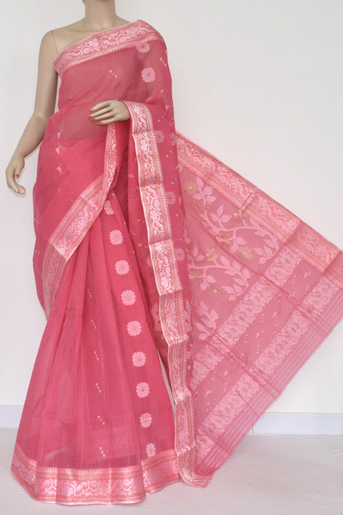 2d24f13053 Pink Handwoven Bengal Tant Cotton Saree (Without Blouse) 14008, Buy ...