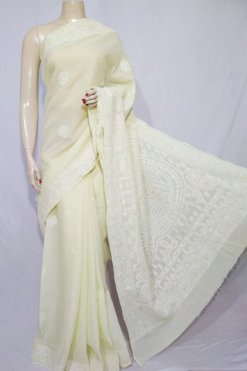 Lemon Color Hand Embroidered Lucknowi Chikankari Saree heavy palla (With Blouse - Cotton)  71121