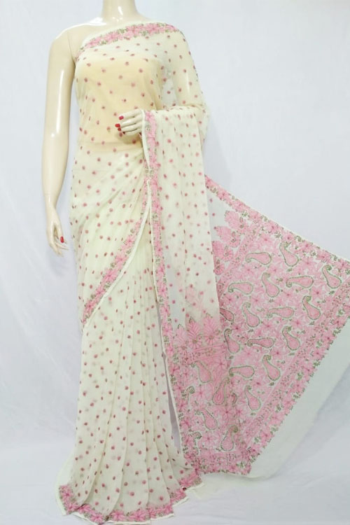 Light Yellow Color Hand Embroidered Lucknowi Chikankari Saree (With Blouse - Georgette)  71122