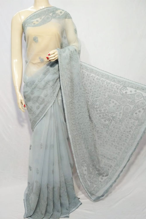 Grey Color Hand Embroidered Lucknowi Chikankari Saree (With Blouse - Georgette)  71112