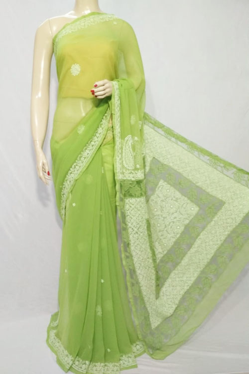 Green Color Hand Embroidered Lucknowi Chikankari Saree (With Blouse - Georgette)  71123