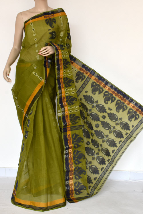 Menhdi Green Handwoven Bengal Tant Cotton Saree (Without Blouse) 14070