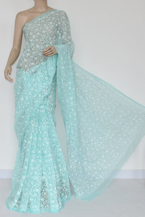 Light Sea Green Hand Embroidered Lucknowi Chikankari Saree (With Blouse - Georgette) Allover Tepchi Work 14686
