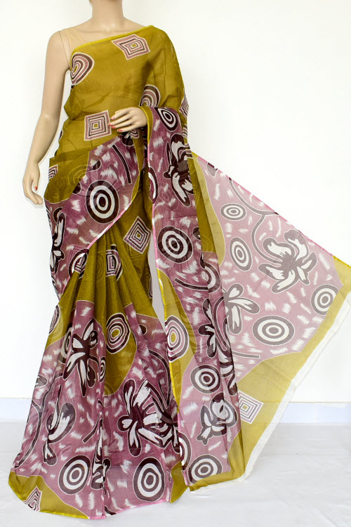 Olive Green Premium JP Kota Doria Printed Cotton Saree (without Blouse) 15445