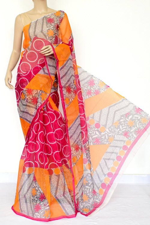 Pink JP Kota Doria Printed Cotton Saree (without Blouse) 15447