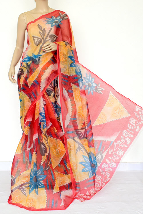 Red Premium JP Kota Doria Floral Print Cotton Saree (without Blouse) 15448