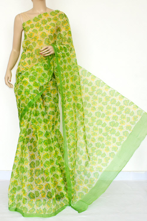 Green Premium JP Kota Doria Floral Print Cotton Saree (without Blouse) 15450