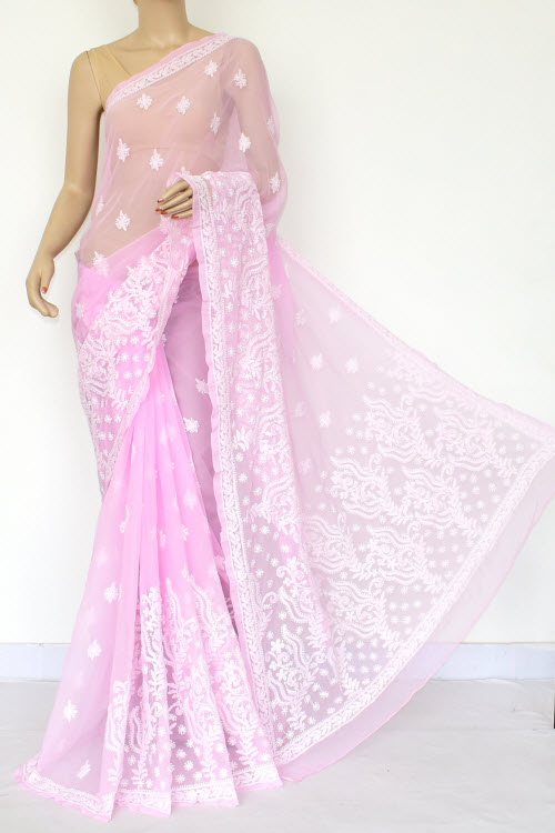 Pink Hand Embroidered Lucknowi Chikankari Saree (Georgette-With Blouse) 14639