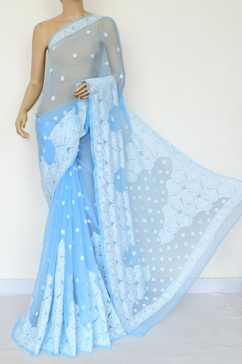 Blue Hand Embroidered Lucknowi Chikankari Saree (Georgette-With Blouse) 14641