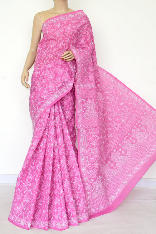 c56c6e7d2a Pink Hand Embroidered Lucknowi Chikankari Saree (Cotton-With Blouse) 14738