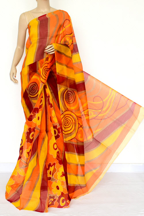Yellow Orange Maroon Kota Printed Saree (Without Blouse - Supernet) 15456