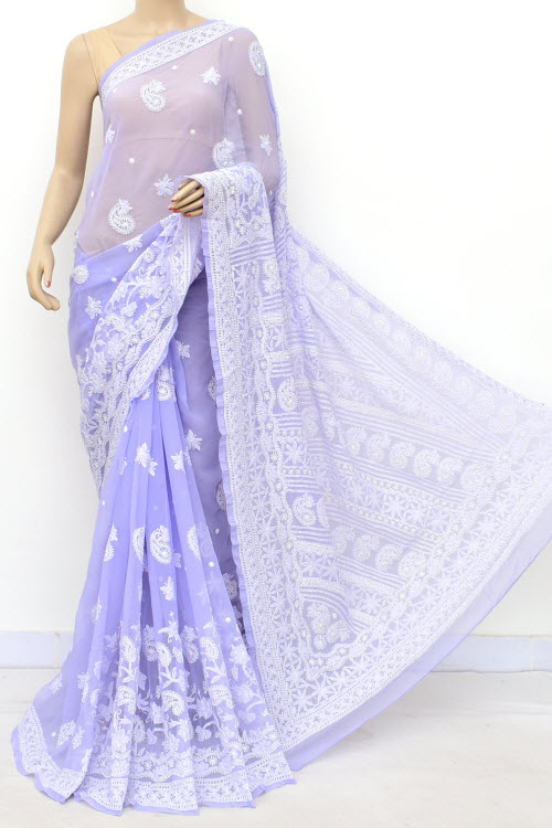 Lavander Designer Hand Embroidered Lucknowi Chikankari Saree (With Blouse - Georgette) 14633