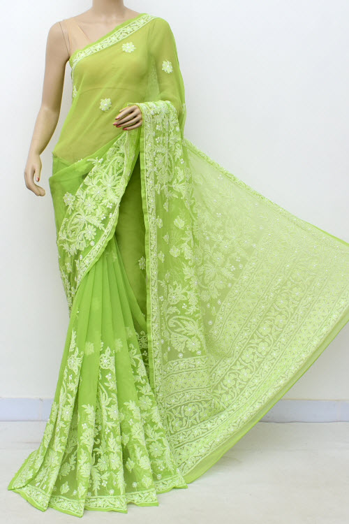 Green Designer Hand Embroidered Lucknowi Chikankari Saree (With Blouse - Georgette) 14659