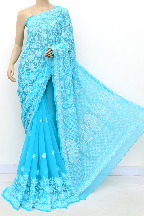 Pherozi Blue Designer Hand Embroidered Lucknowi Chikankari Saree (With Blouse - Georgette) Half Jaal 17298
