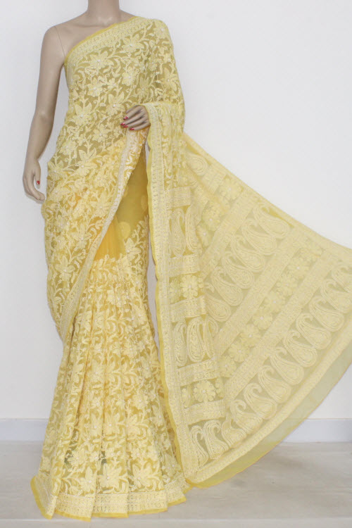 Golden Yellow Allover Hand Embroidered Lucknowi Chikankari Saree (With Blouse - Georgette) 14441