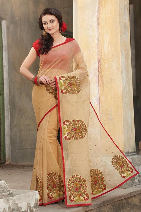 Red Milano Multicolor Saree With Applique Buta