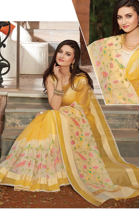 Yellow Supernet Saree With Resham Embroidery And Zari Patta