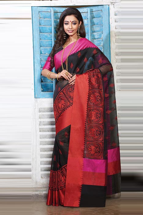 Black Chanderi Saree With Resham Patta