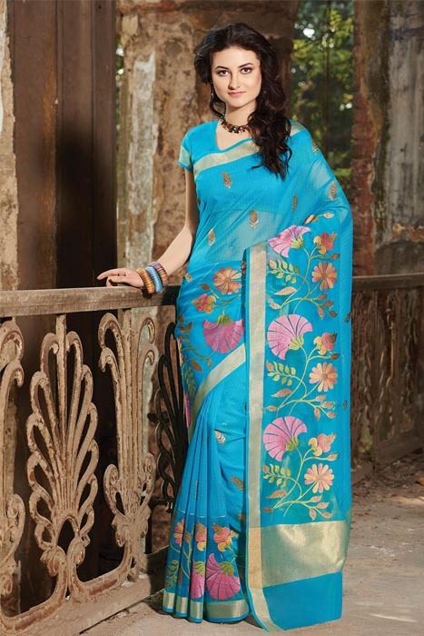 Chanderi Resham Patta Saree With  Weaving Border