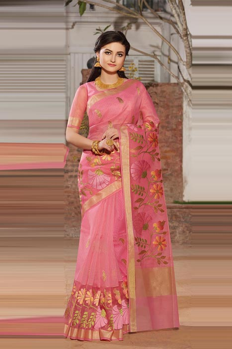 Dark Pink Chanderi Saree With Zari Border And Resham Embroidery