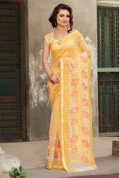Yellow Supernet Saree With Weaving Border