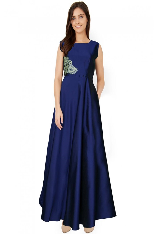 Exclusive Designer Royal Gown #G03  Navy Blue